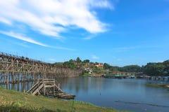 Widok Mon Drewniany Brid Kanchanaburi Tajlandia, Grudzień - 2016 - Obraz Royalty Free