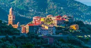Widok Montale w prowincji los angeles Spezia, Liguria, Włochy obrazy royalty free