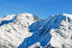 Widok MontBlanc góra w Alps Zdjęcia Stock