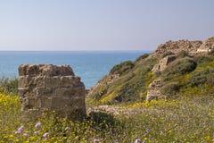 Widok morze śródziemnomorskie od wybrzeża w Izrael Zdjęcia Royalty Free