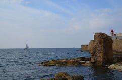 Widok morze antyczny miasto Izrael - akr Fotografia Royalty Free