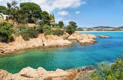 Widok morze blisko Sagaro w Costa Brava, Hiszpania zdjęcie royalty free