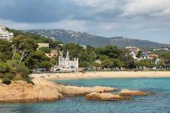 Widok morze blisko Sagaro w Costa Brava, Hiszpania obrazy stock