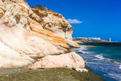 Widok morze i blisko Kalymnos plaży skały, Cypr Zdjęcie Royalty Free