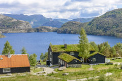 Widok morze od wejścia ambony skała w Norwegia Zdjęcia Royalty Free