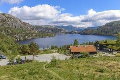 Widok morze od wejścia ambony skała w Norwegia Obraz Royalty Free
