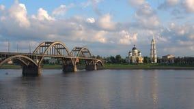 Widok most i transfiguracji katedra, wieczór Rybinsk, Rosja zbiory