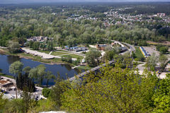 Widok most nad Seversky Donets zdjęcia stock