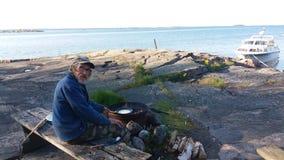 Widok myśleć zupełnie błonie w lecie, w małych wyspach w Finlandia Obraz Stock