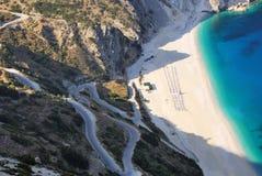Widok Myrthos plaża od Kefalonia wyspy zdjęcie royalty free