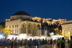 Widok na akropolu od Monastiraki kwadrata obrazy royalty free