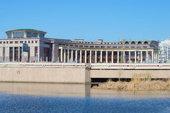 Widok na budynku Kazan Federacyjny uniwersytet od Nizhny Kaban jeziora (Volga region) Kazan, Tatarstan Obraz Stock