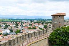 Widok na Carcassonne od ściany Carcassonne kasztel. Francja Zdjęcia Royalty Free