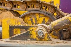 Widok na części maszynowy buldożeru ślad Fotografia Stock