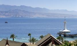 Widok na Czerwonym morzu morskim podwodnym obserwatorium i, Eilat, Izrael Zdjęcia Stock