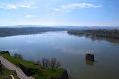 Widok na Danube od Petrovaradin fortecy, Novi Sad, Serbia Zdjęcie Stock