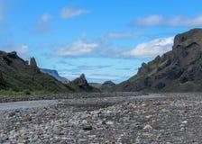 Widok na dolinie Krossa rzeka Thorsmork i, Iceland zdjęcia stock