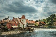 Widok na dziejowym centrum Cesky Krumlov europejczycy Fotografia Stock