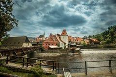 Widok na dziejowym centrum Cesky Krumlov europejczycy Obraz Royalty Free