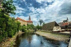 Widok na dziejowym centrum Cesky Krumlov europejczycy Fotografia Royalty Free