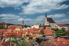 Widok na dziejowym centrum Cesky Krumlov europejczycy Zdjęcia Royalty Free
