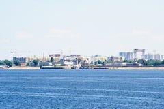 Widok na Engels mieście od Volga rzeki Rosja zdjęcie royalty free