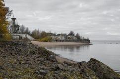 Widok na fortu ` rafy `, fortyfikacje Kronstadt i zatoka Finlandia, Zdjęcie Stock