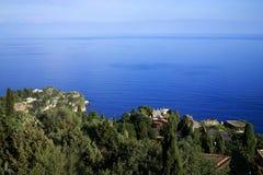 Widok na Ionian morzu od Taormina w Sicily Obrazy Royalty Free