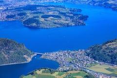 Widok na Jeziornej lucernie od Mt Stanserhorn Zdjęcie Stock