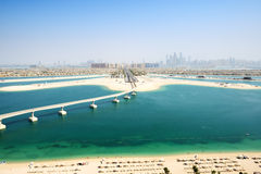 Widok na Jumeirah Palmowej spowodowany przez człowieka wyspie Obrazy Royalty Free