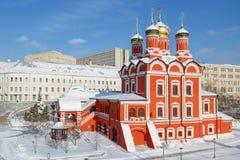 Widok na katedrze ikona matka bóg ` znaka ` poprzedni Znamensky monaster na zima sezonie Obraz Royalty Free