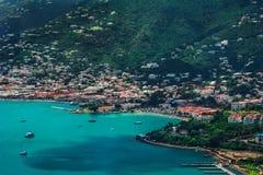 Widok na lagunie, porcie Charlotte Amalie w świętym Thomas/ obraz stock