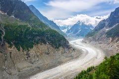 Widok na lodowu Mer De Glace w Chamonix Mont Blanc masywie Alps Francja Fotografia Royalty Free