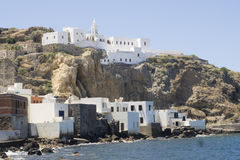 Widok na Mandraki, Nisiros, Grecja Zdjęcia Royalty Free
