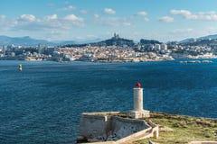 Widok na Marseille od górska chata d ` Jeżeli, Francja Zdjęcia Royalty Free