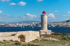 Widok na Marseille od górska chata d ` Jeżeli, Francja Obraz Royalty Free