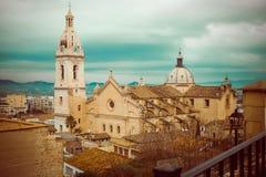 Widok na mieście i kościół w Xativa Obraz Royalty Free