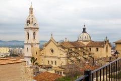 Widok na mieście i kościół w Xativa Zdjęcie Royalty Free