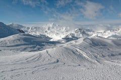 Widok na Mont Blanc od Val d ` Isère ośrodka narciarskiego Zdjęcie Royalty Free