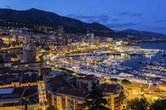 Widok na Monte, Carlo w Monaco w wieczór - Obraz Royalty Free