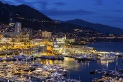 Widok na Monte, Carlo w Monaco w wieczór - Obraz Stock