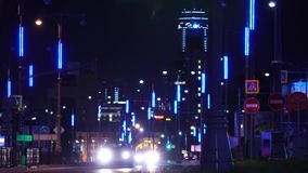 Widok na nocy mieście z światłami Akcyjny materia? filmowy t?a budynku ?wiat?a nowo?ytni ?lada zdjęcie wideo