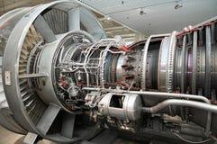 Widok na nowożytnego samolotu turbinowym przekroju poprzecznym z różnym equpment, części, składniki Płascy turbinowi ostrza obrazy stock