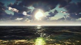 Widok na ocean na ładnym wschód słońca Morze wakacje, natura, kurort lata tła piękna ilustracyjny wektora świadczenia 3 d zdjęcia royalty free