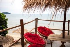 Widok na ocean od kawiarnia tarasu Zdjęcie Royalty Free