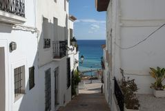 Widok na ocean w Altea, Costa Blanca - Hiszpania zdjęcia royalty free