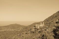 Widok na opactwie Sant Pere De Rodes, Catalonia, Hiszpania zdjęcie stock