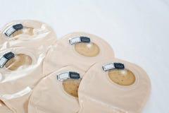 Widok na ostomy torbach na białym tle - wizerunek fotografia stock
