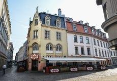 Widok na Piątkach cukiernianych w Ryskim centrum miasta, Litva zdjęcie royalty free