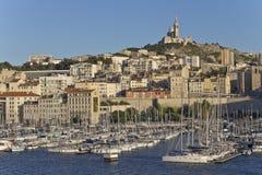 Widok na porcie Marseille przy zmierzchem Zdjęcia Royalty Free